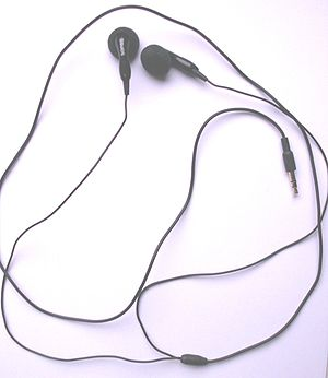 A picture showing out-ear earphones. This part...