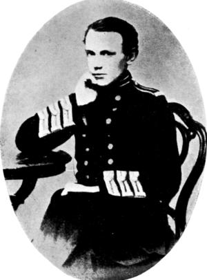 Peter Kropotkin in 1861. Posing in uniform.
