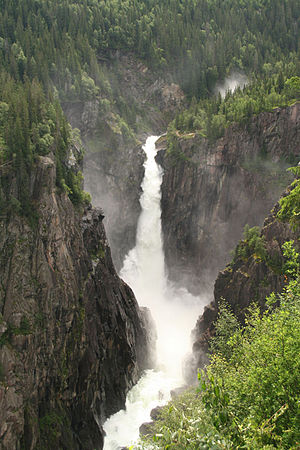 Rjukanfossen, Telemark, Norway. This waterfall...