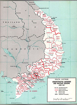 Map of South Vietnam in 1967, showing location...