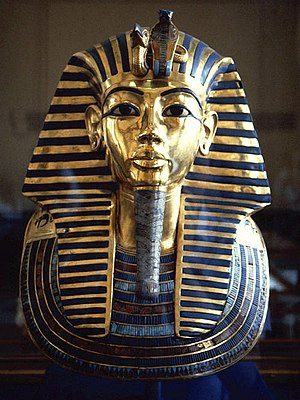 Golden funeral mask of king Tutankhamun