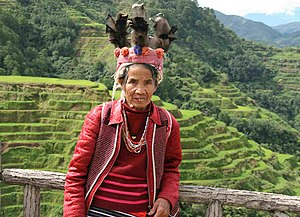 English: Positn for tourists at Banaue rice te...