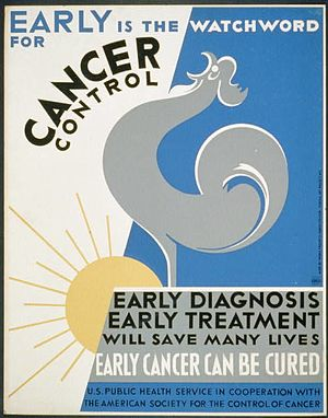 English: Poster promoting early diagnosis and ...