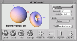Screenshot of GLUI example program.