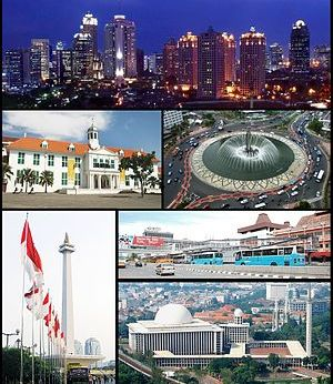 Picture of Jakarta, from top to bottom: panora...