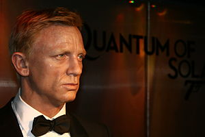 Wax figure of Daniel Craig at Madame Tussauds,...