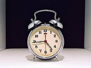 An old style alarm clock.