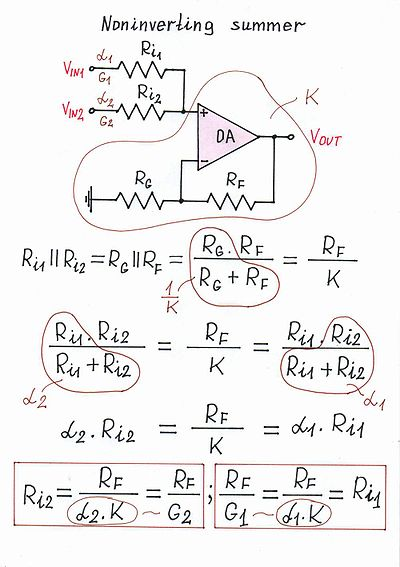 circuit diagram of non inverting amplifier entity relationship example solutions idea simple op amp summer design wikibooks open books for edit
