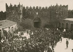 Anti-Zionist demonstration at Damascus Gate. M...