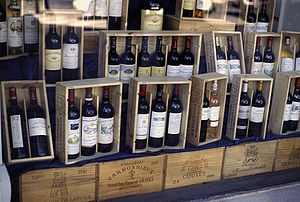 Bottles of Bordeaux Wine in Shop, Bordeaux, France