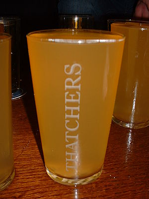 A Pint Of Traditional Thatchers Dry Cider