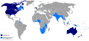 Dark blue: Common law jurisdictions. Light blu...