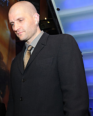 English: China Miéville just after winning the...