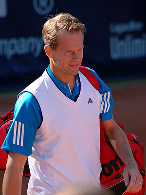 English: Stefan Edberg in Paris Senior tour Op...