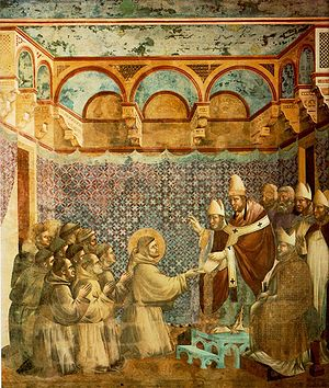 One of the Legend of St. Francis frescoes at A...