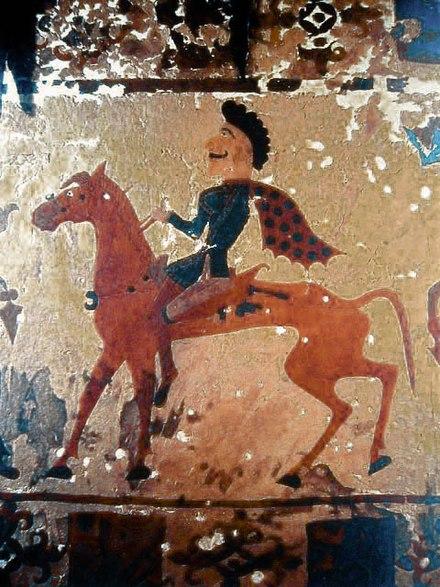 Sakijski jeździec na wojłokowym kilimie z kurhanu Pazyryk