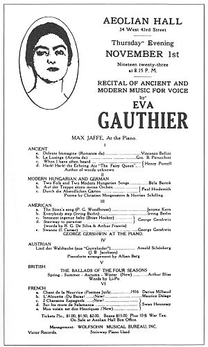 Playbill from Eva Gauthier's breakthrough 1923...