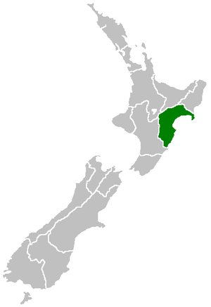 Hawke's Bay Region within New Zealand