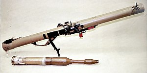 A RPG-29 missile launcher and PG-29 projectile.