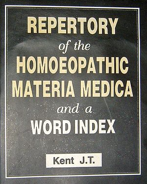 Homeopathic repertory, by J.T. Kent.