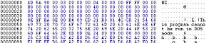 English: hex editor listing of a Dos File header