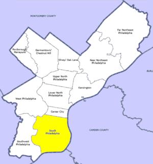 English: Map of Philadelphia County highlighti...