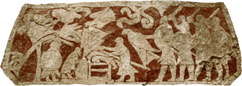 Detail from Stora Hammars I shows a man lying on his belly with another man using a weapon on his back, a Valknut, and two birds, one of which is held by a man to the right.