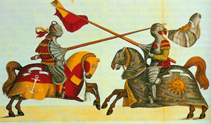 A later print of a 15th century joust