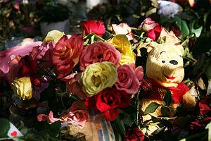 A sea of flowers and teddybears outside Oslo c...