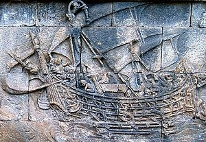 Relief panel of a ship at Borobudur