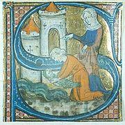 Una miniatura raffigurante una lettera S maiuscola, tratta dal breviario dell'Abbazia di Chertsey, XIV secolo.