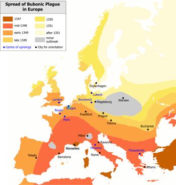 Verspreiding van de pest in Europa in de jaren 1347 tot 1351