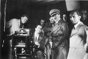 Hitler and Goebbels on visit at the UFA, on th...