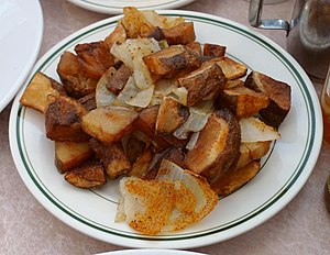 A plate of home fried potatoes