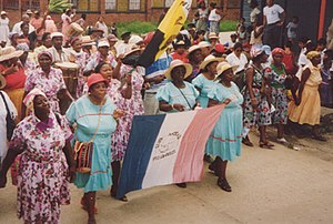 Garifuna parade on San Isidro Day, in Livingst...