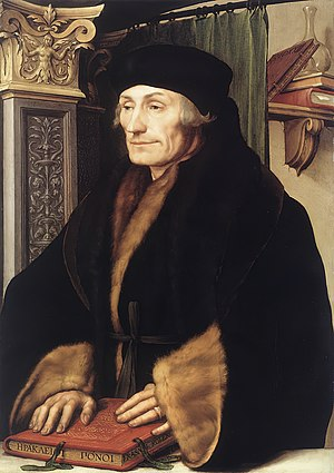 Portrait of Erasmus of Rotterdam, 1523. Oil an...