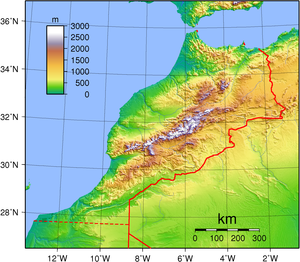 Topographic map of Morocco. Created with GMT f...