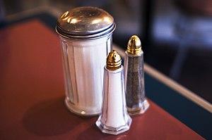 Salt, sugar and pepper shakers.