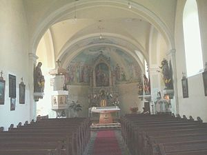 Inside of the Roman Catholic Church in Újkér