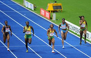 English: 100 m final at the World Championship...