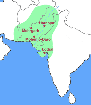 Location of Harappa in the Indus Valley and ex...