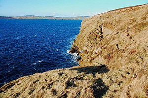 English: Cliffs at Gaitnip In the late afterno...
