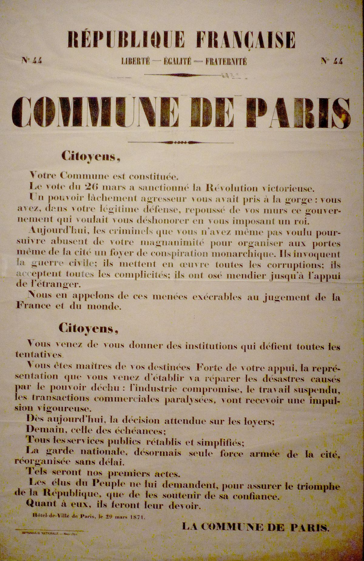 La Commune De Paris Documentaire : commune, paris, documentaire, Commune, (Paris,, 1871), Wikipédia