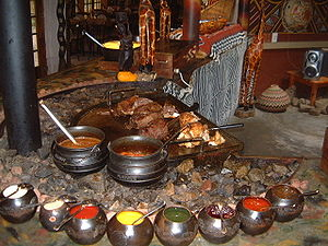 English: South African cuisine, with meats of ...