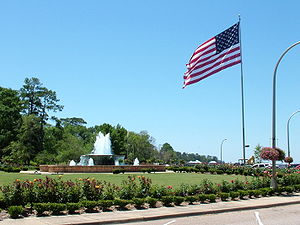 Photograph of the fountain at the Fairhope Mun...