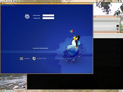 An Xnest window containing KDM within a running KDE session.
