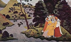 Krishna embraces Gopîs, Gîtâ-Govinda-manuscrip...