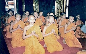 Novitiate faculty in the Buddhism is prayying