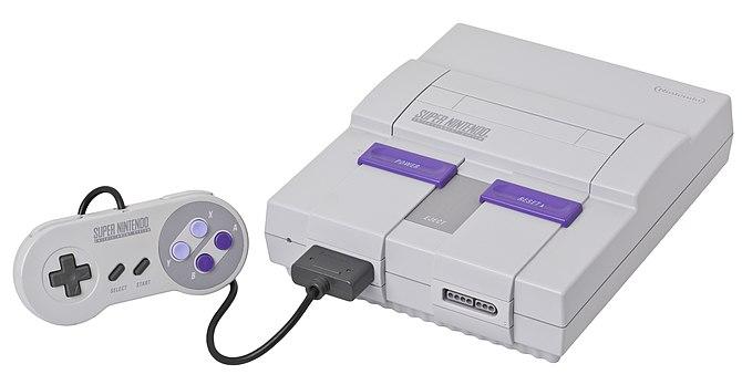 English: A Super Nintendo (SNES or Super NES) ...