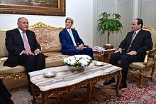 Secretary Kerry, Egyptian Foreign Minister Shoukry Discuss Gaza Ceasefire With Egyptian President al-Sisi in Cairo